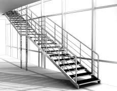 Лестница из нержавейки и камня